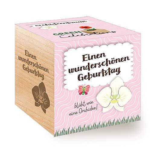 Feel Green Celebrations Ecocube, Orchideenbaum, Holzwürfel Mit Lasergravur «Einen Wunderschönen...
