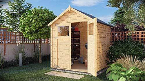 Alpholz Gerätehaus Alisha aus Fichten-Holz | Gartenhaus mit 14mm Wandstärke | Holzhaus inklusive...