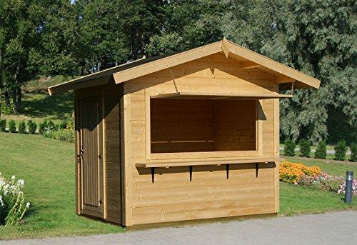 Verkaufsstand Halesia H10 inkl. Fußboden, naturbelassen - 28 mm Blockbohlenhaus, Grundfläche: 4,30...