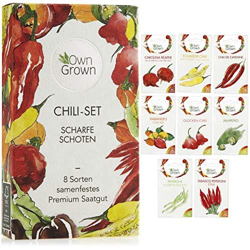 Chili Samen Set mit 8 Sorten Chilisamen für Garten und Balkon: Premium Chilisortiment – Bunte und...