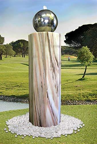 Troester's Brunnenwelt Gartenbrunnen Lichtsäule Oktogonia mit Edelstahlkugel