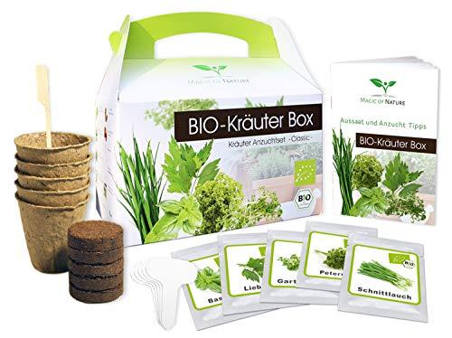 Magic of Nature BIO Kräuter Box CLASSIC - Anzuchtset - 5 Sorten BIO Samen - Perfektes Geschenk -...