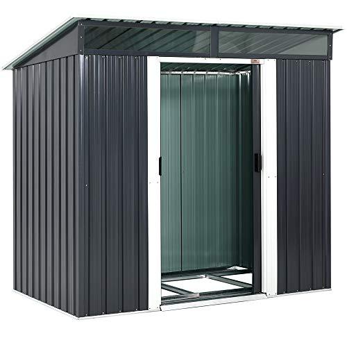 Gardebruk L Metall Gerätehaus 2m² mit Fundament 196x122x180cm 2 Fenster Anthrazit Geräteschuppen...