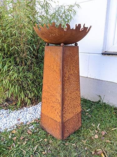 Zen Man Garten Edelrost Feuerschale Pflanzschale 50cm 1mm Rost mit Konus H80cm aus Metall Rost...