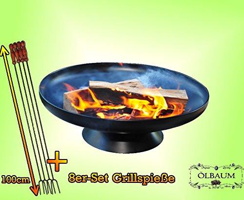 ÖLBAUM Feuerkorb FEUERSCHALE Grill (je nach Wahl mit 4-8 - 12x Grillspiessen) mit Zubehör...
