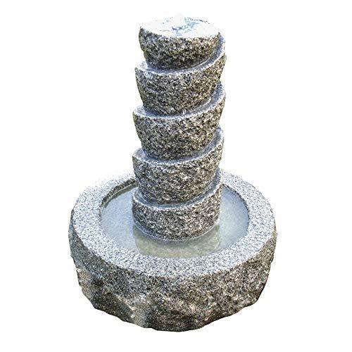 Dehner Gartenbrunnen Drill inkl. LED-Beleuchtung, Ø 45 cm, Höhe 55 cm, Granit, grau
