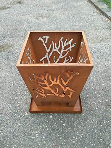Zen Man Edelrost Garten Feuerschale aus Metall rostoptik Garten Schale Rost Metall 1mm Gardendeko...
