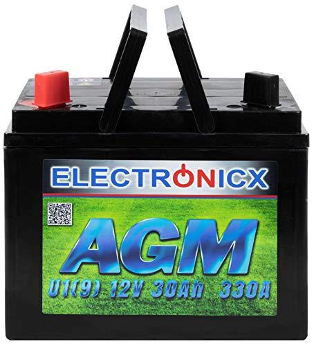 Electronicx AGM U1(9) 30AH 300A (EN) Batterie für Aufsitzrasenmäher, Gartengeräte,...