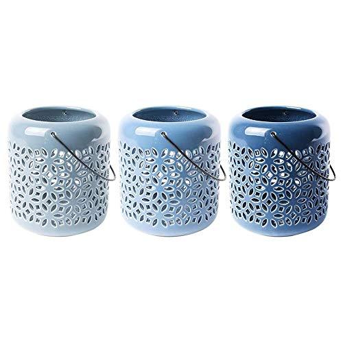 Rivanto® Blautöne Keramik Windlicht Größe L mit Griffbügel, farbig Sortiert, glänzende Optik,...