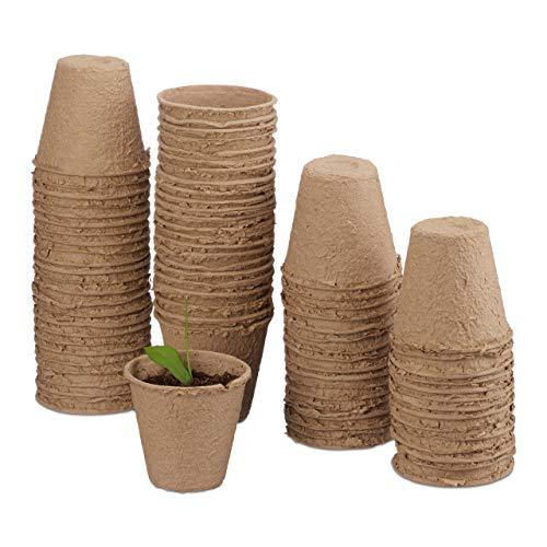 Relaxdays Anzuchttöpfe im Set, biologisch abbaubar, für Pflanzen, rund, 80 Stück, Pflanztöpfe,...