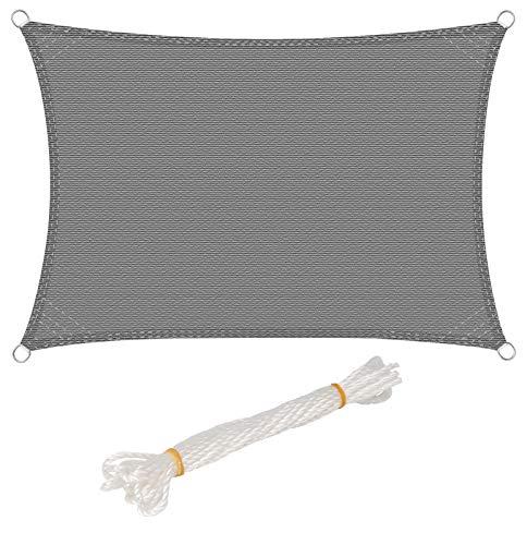 WOLTU Sonnensegel Rechteck 2x3m Grau atmungsaktiv Sonnenschutz HDPE Windschutz mit UV Schutz für...