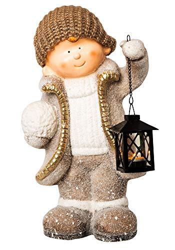 Wichtelstube-Kollektion XXL 42cm Dekofigur mit Laterne Winterkind Weihnachten Deko Figur Garten...