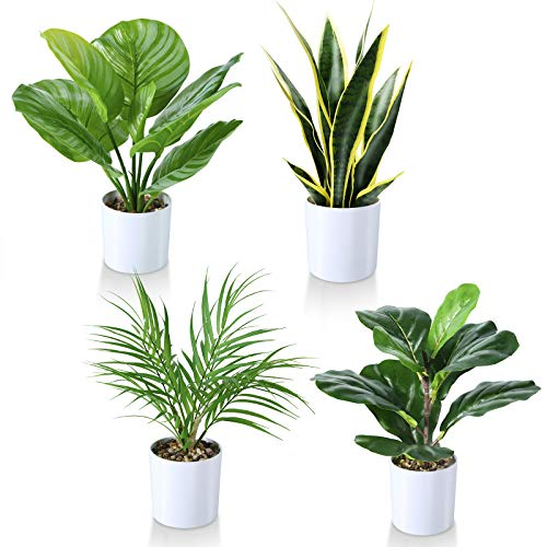 Kazeila Kunstpflanzen 40cm Geigenblattfeige/ Schlangenpflanze / Areca Palme / Grün gestreifte...