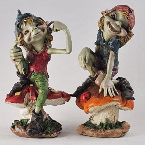 Fiesta Studios Elfe auf Pilzen 2er Set Skulptur Magische Mystery Garten Deko Figuren Elfe & Fee...