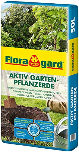 Floragard Aktiv Garten-Pflanzerde 50 Liter - Erde mit Langzeitdünger zum Pflanzen von Gehölzen,...
