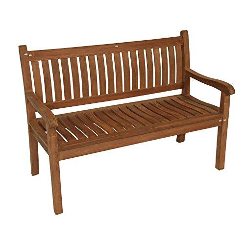 Lesli Living Bank Gartenbank Teak Holz Gebogene Rückenlehne 130 cm