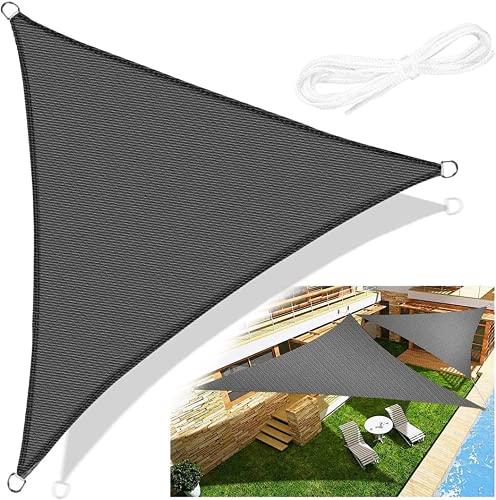 Emooqi Sonnensegel Dreieck Rechtwinklig, Sonnensegel Dreieckig 3x3x3M Sonnenschutz Atmungsaktiv HDPE...