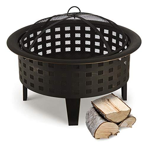blumfeldt Boston - Feuerschale, Feuerkorb, Terassenofen, Gitternetz für Funkenschutz, antikes...