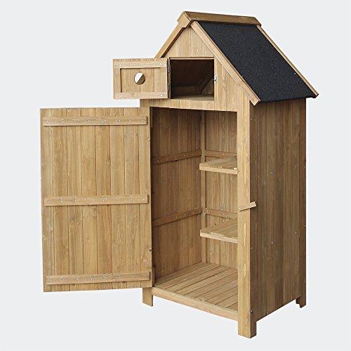 Wiltec Schmales Gartenhaus aus Fichtenholz mit Bitumendach 770x540x1370mm für Garten, Terrasse &...