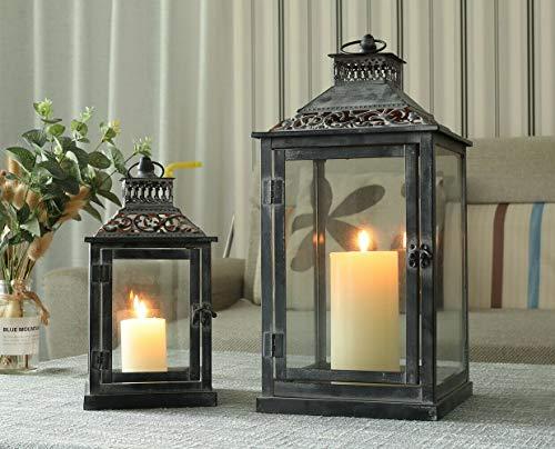 JHY DESIGN Set mit 2 dekorativen Laternen aus schwarzem grauem Pinsel, Kerzenlaternen aus Metall...