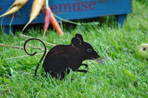 KUHEIGA Maus 'Heinrich' Gartenstecker Metall Blumenstecker