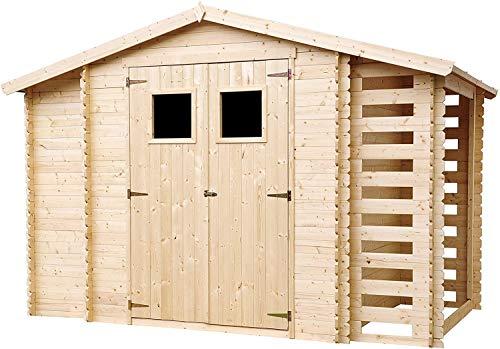 TIMBELA Holzhaus Gartenhaus mit Brennholzschuppen M389 - Gartenschuppen Holz B328xL206xH218 cm/ 3,53...