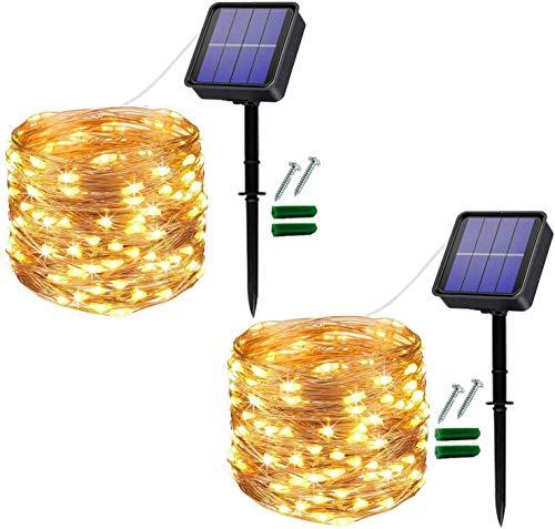 [2 Stück]Solar Lichterkette Außen, 12M 120 LED Lichterketten Aussen, Wasserdicht Kupferdraht...