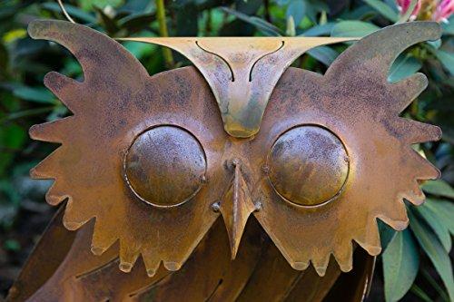 KUHEIGA Gartenfigur Eule Edelrost, Rost H: 26cm Dekofigur Figur