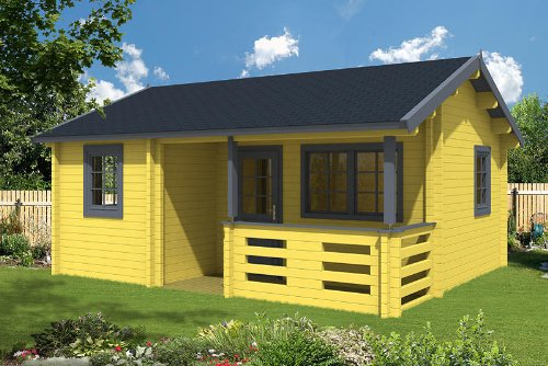Gartenhaus FALUN A 70 Blockhaus 595 x 500 cm Holzhaus 70 mm Holz NEU