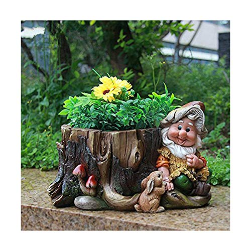 Design Zwerg 15198 mit Blumentopf 16 cm Hoch Deko Garten Gartenzwerg Figuren Dekoration