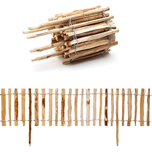 Steckzaun Beeteinfassung aus Haselnuss Holz · Holz Zaun in 6 Größen · 50cm hoch - 300cm lang -...
