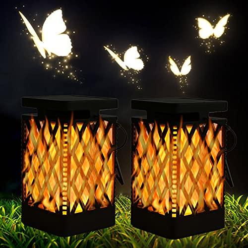 Solarlampen mit Led Flammeneffekt für Außen Hängend, Solarleuchten Flammenlicht Solar Laterne...