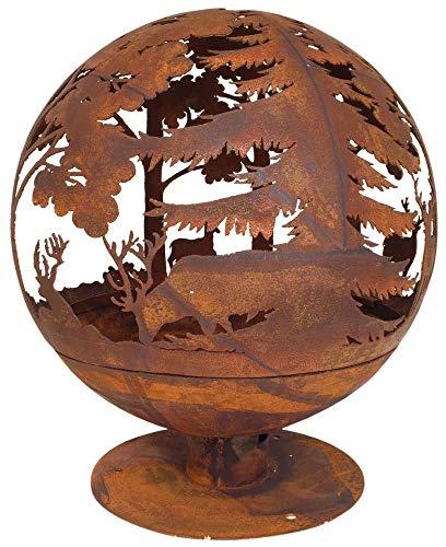 Esschert Design Elchmotiv Feuerball 58 x 58 x 66 cm, aus Metall, gelasert, in Rost-Optik, mit...