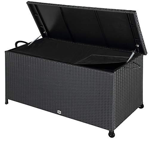 Deuba Auflagenbox 122x56x61 cm Poly Rattan Wasserdicht Rollbar 2 Gasdruckfedern Kissen Garten Box...