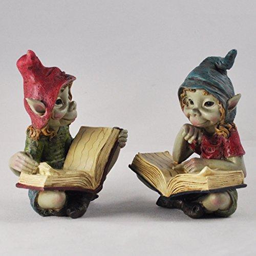 Fiesta Studios Pixies Leseset von 2 Skulpturen Magische Mystery Garten Deko Figuren Elf & Fee...