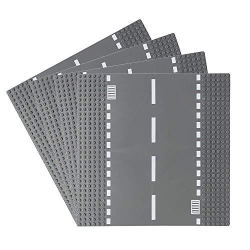 Feleph Stadt Gerade Straßengrundplatte 4 Stück Bausatz 10 x 10 Zoll Grundplatte für Bausteine...