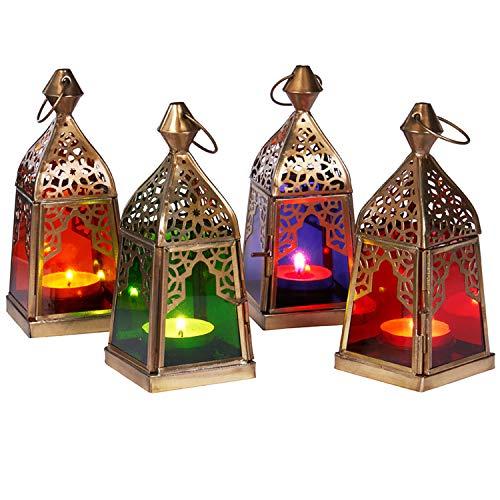 Orientalische Laternen 4 Set Laterne Basil bunt 16cm | Orientalisches Windlicht aus Metall & Glas in...