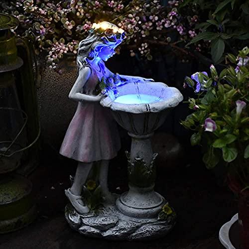 Gartendeko Figuren für Außen Groß Solarleuchte Garten Blumenfee Garten Deko Harz Blume Fee Solar...