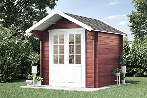 Alpholz Gartenhaus Lena-44 aus Massiv-Holz | Gerätehaus mit 44 mm Wandstärke | Garten Holzhaus...