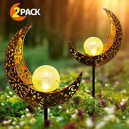 infinitoo Solarlampe für Außen, 2er Pack Metall Mond-Form LED Stake Dekorative Gartenfahlständer...