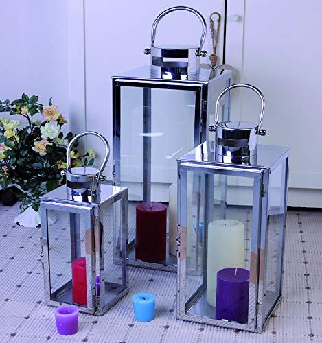 FineHome Luxus Edelstahl XXL Luxus 3er Set Gartenlaternen Set Windlicht Laterne Glas 30/40 / 53 cm...