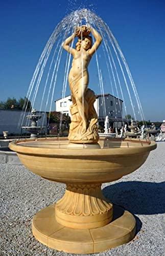 Casa Padrino Jugendstil Gartenbrunnen mit Jungfrau Skulptur Beige Ø 160 x H. 222 cm - Springbrunnen...