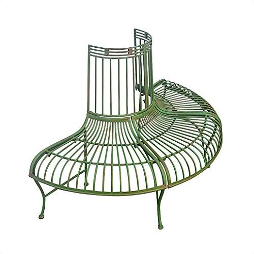 Gartenbank Bank Baumbank Möbel Garten grün Metall Eisen Antik-Stil 134cm
