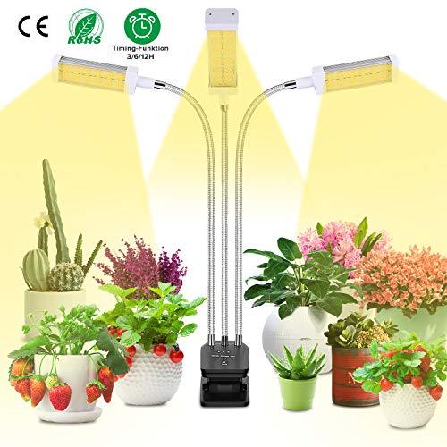 LED Pflanzenlampe, Vollesspektrum 72W Pflanzenlicht Wachstumslampe, 3 Timer 3/6/12H, Dimmbar 10...