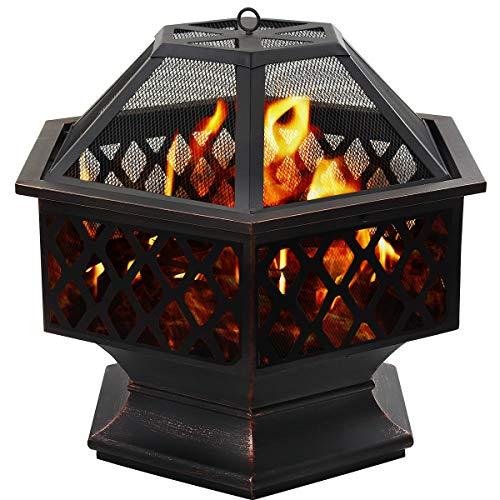 DAWOO Feuerschale für den Außenbereich Gartenöfen, sechseckiger Feuerkorb Garten...