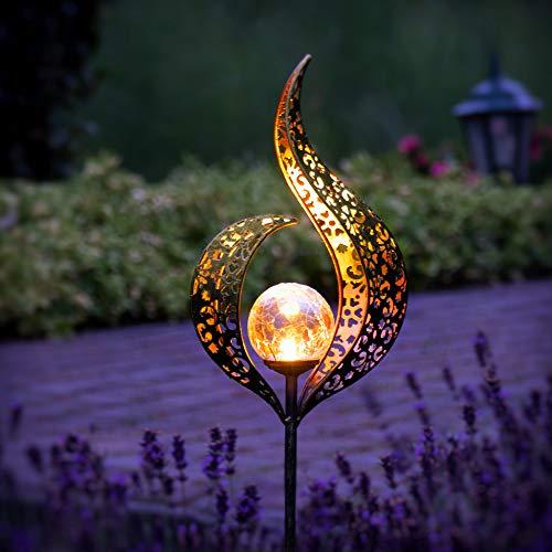 Gadgy Set von 2 Solarlampen für Außen Flamme | Wasserdichte Solar Lampe für die Garten dekoration...