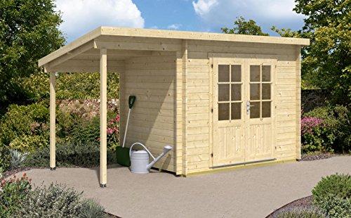 CARLSSON Alpholz Gartenhaus Martina-28 aus Massiv-Holz | Gerätehaus mit 28 mm Wandstärke | Garten...