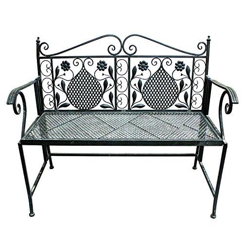 Mojawo Edle Parkbank aus Eisen Gartenbank 107cm 2-Sitzer Antik Design Sitzbank im Landhausstil Farbe...