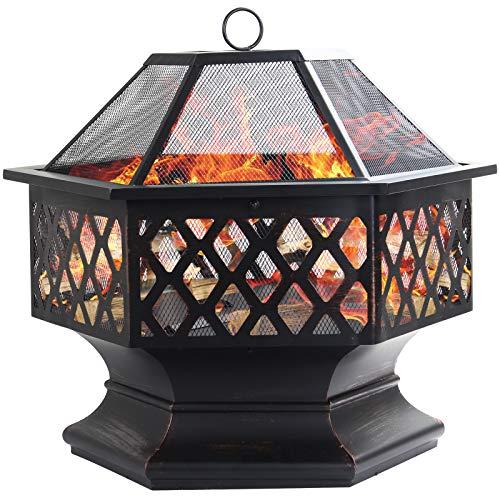 Dawoo Feuerschale für den Außenbereich, sechseckiger Feuerkorb Garten feuerschale,feuerstelle...