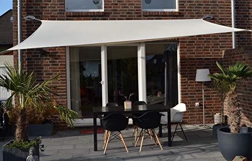 Floracord 06-77-07-48 Vierecksonnensegel mit Regenschutz 3 x 4 m inklusive Zubehör mit...